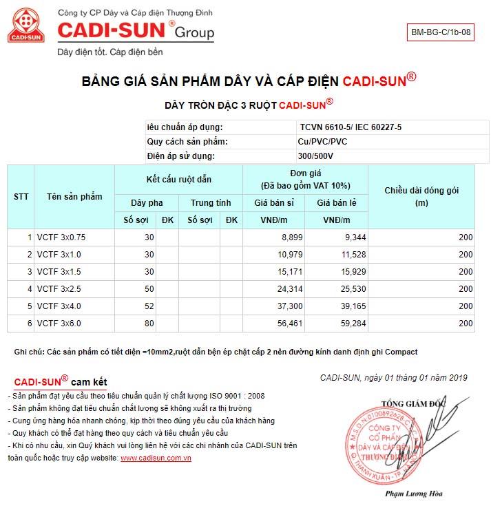 bảng giá Dây tròn 3 ruột mềm cadisun – VCTF 3x