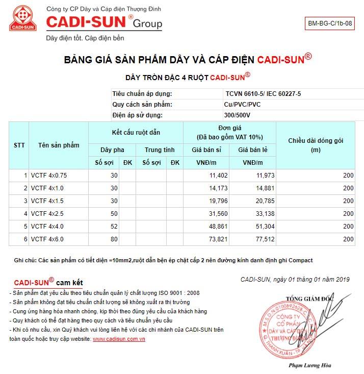 bảng giá Dây tròn 4 ruột mềm cadisun – VCTF 4x