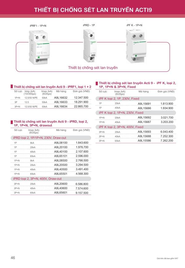 Bảng giá thiết bị chống sét lan truyền Schneider