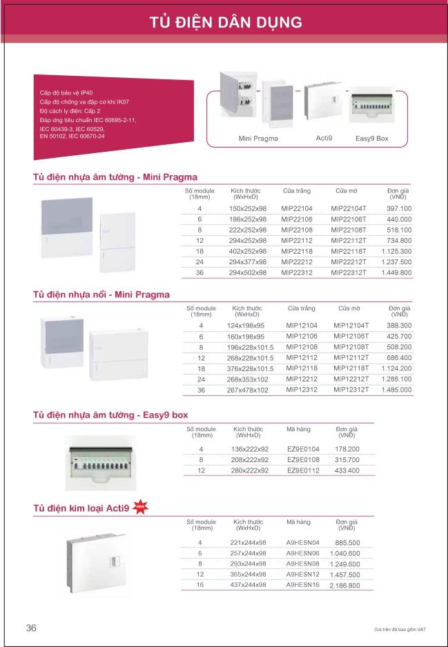 Bảng giá tủ điện dân dụng Schneider