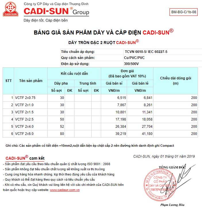 Bảng giá Dây tròn 2 ruột mềm cadisun – VCTF 2x