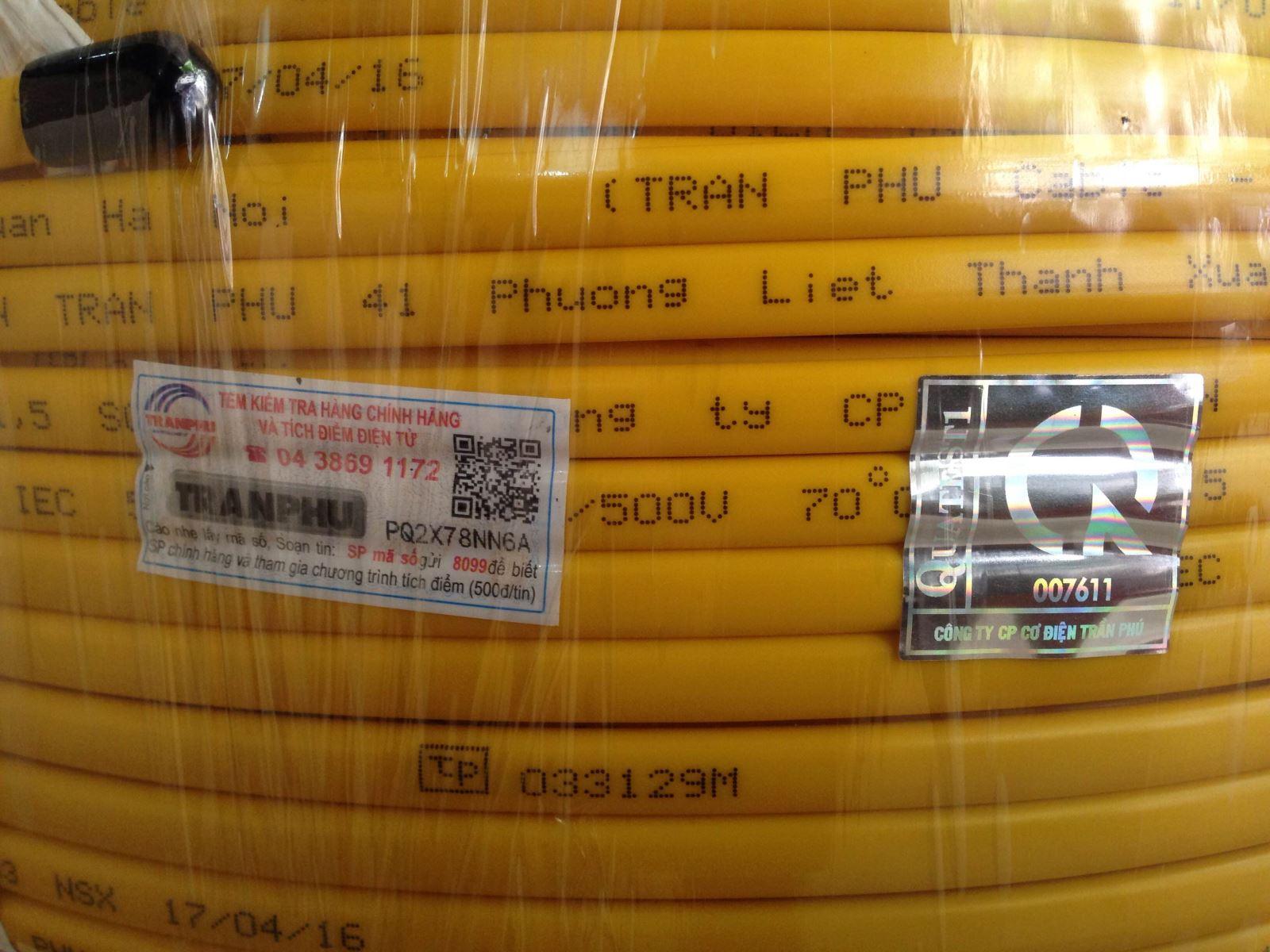 Cách kiểm tra dây điện Trần Phú chính hãng