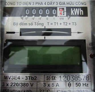 Chỉ số công tơ điện 3 pha điện tử