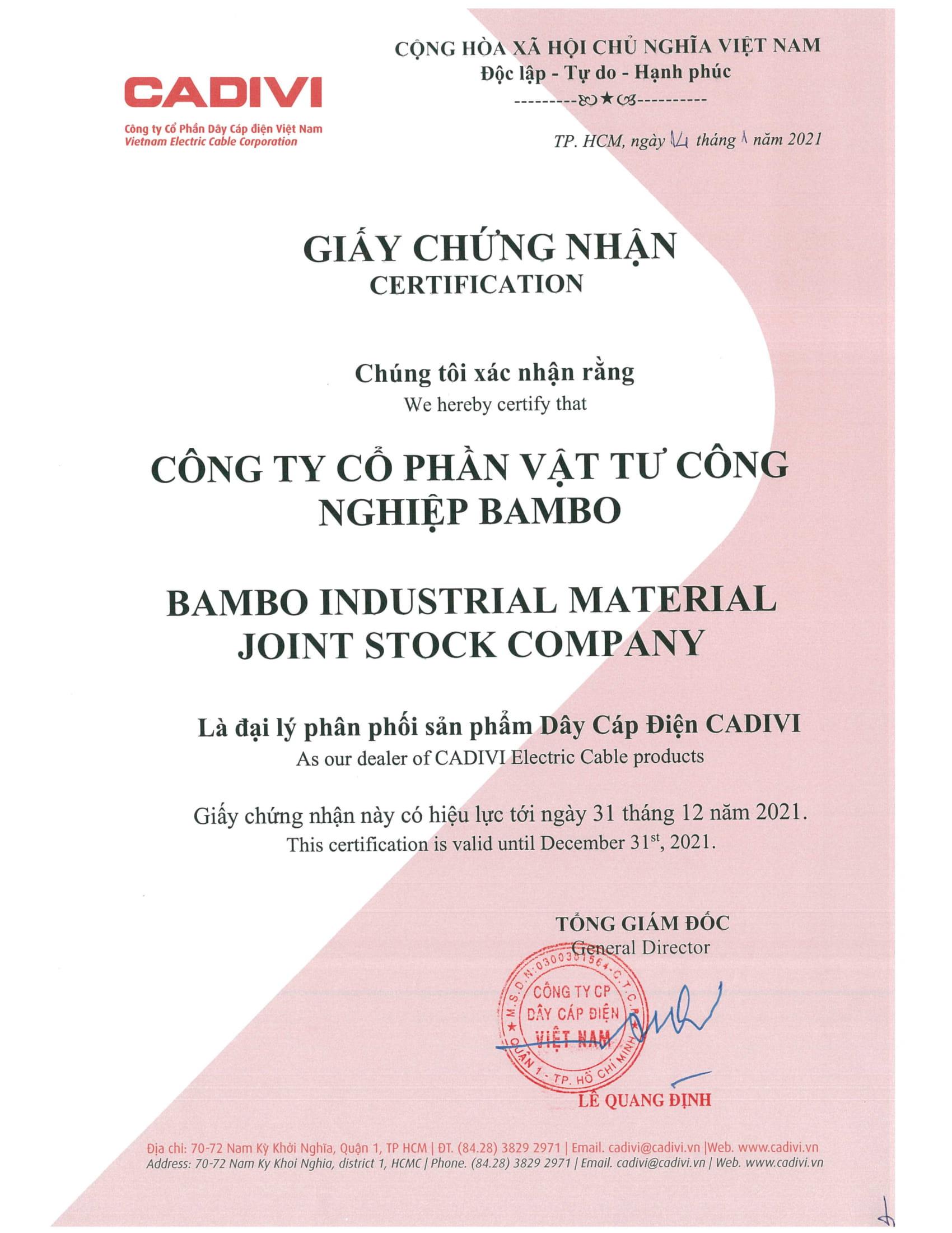 chứng nhận đại lý Cadivi 2021