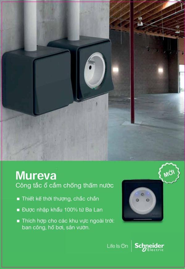 Công tắc ổ cắm chống thấm nước Mureva thiết kế hiện đại