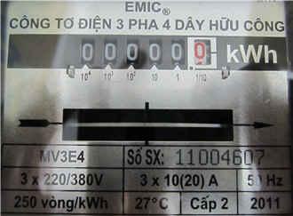 Công tơ điện 3 pha trực tiếp 10(20A)