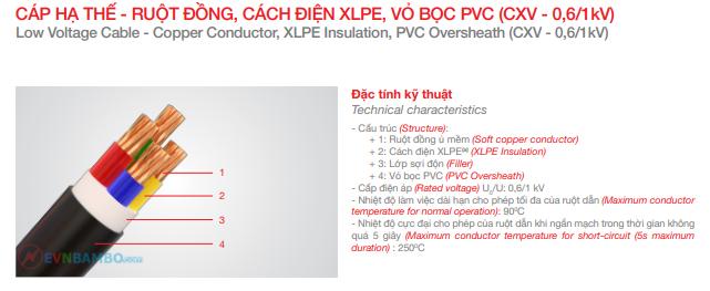 Cáp 2 lõi hạ thế Trần Phú CXV 2x10