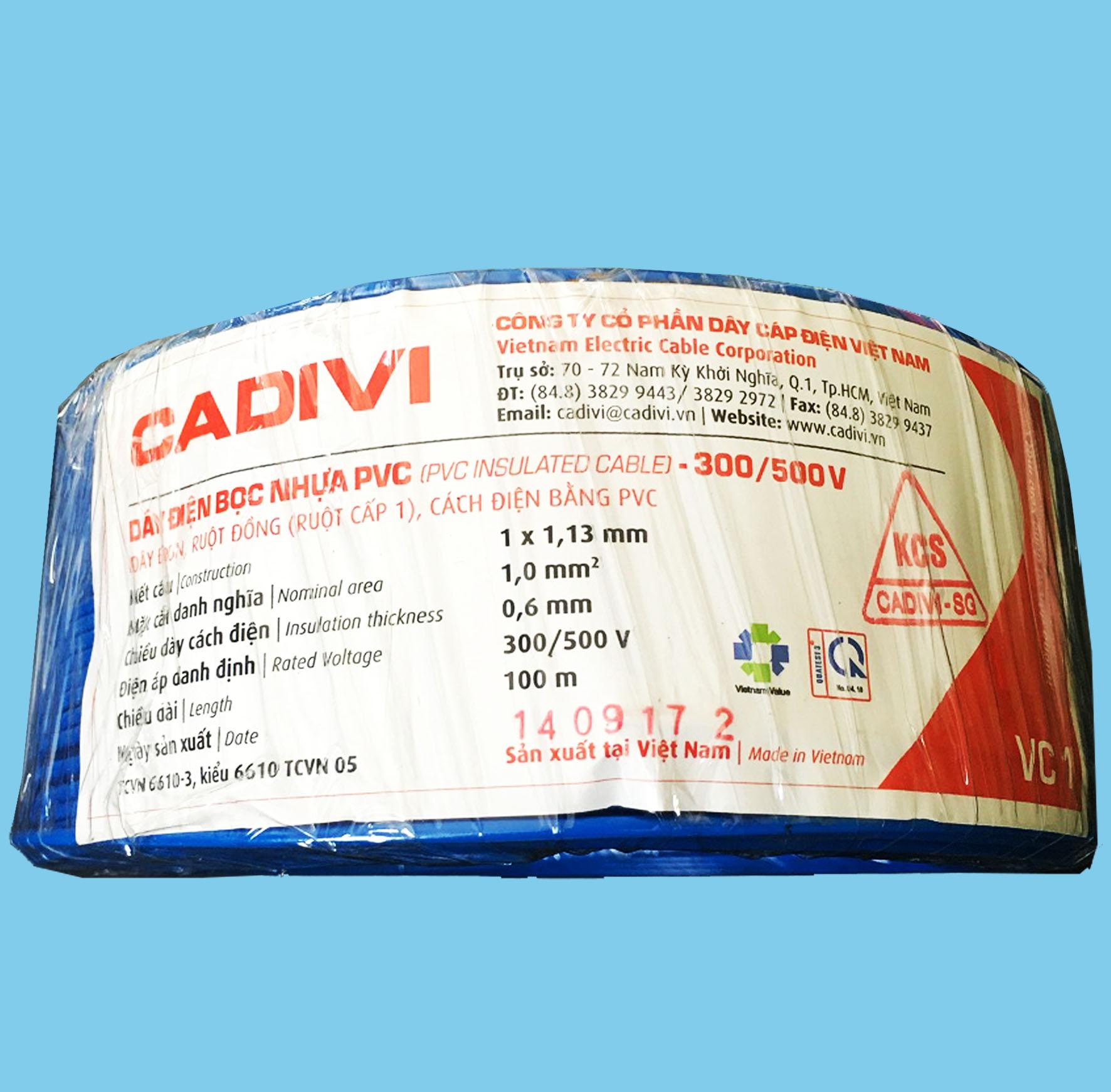 Dây điện Cadivi đơn cứng ruột đồng VC10