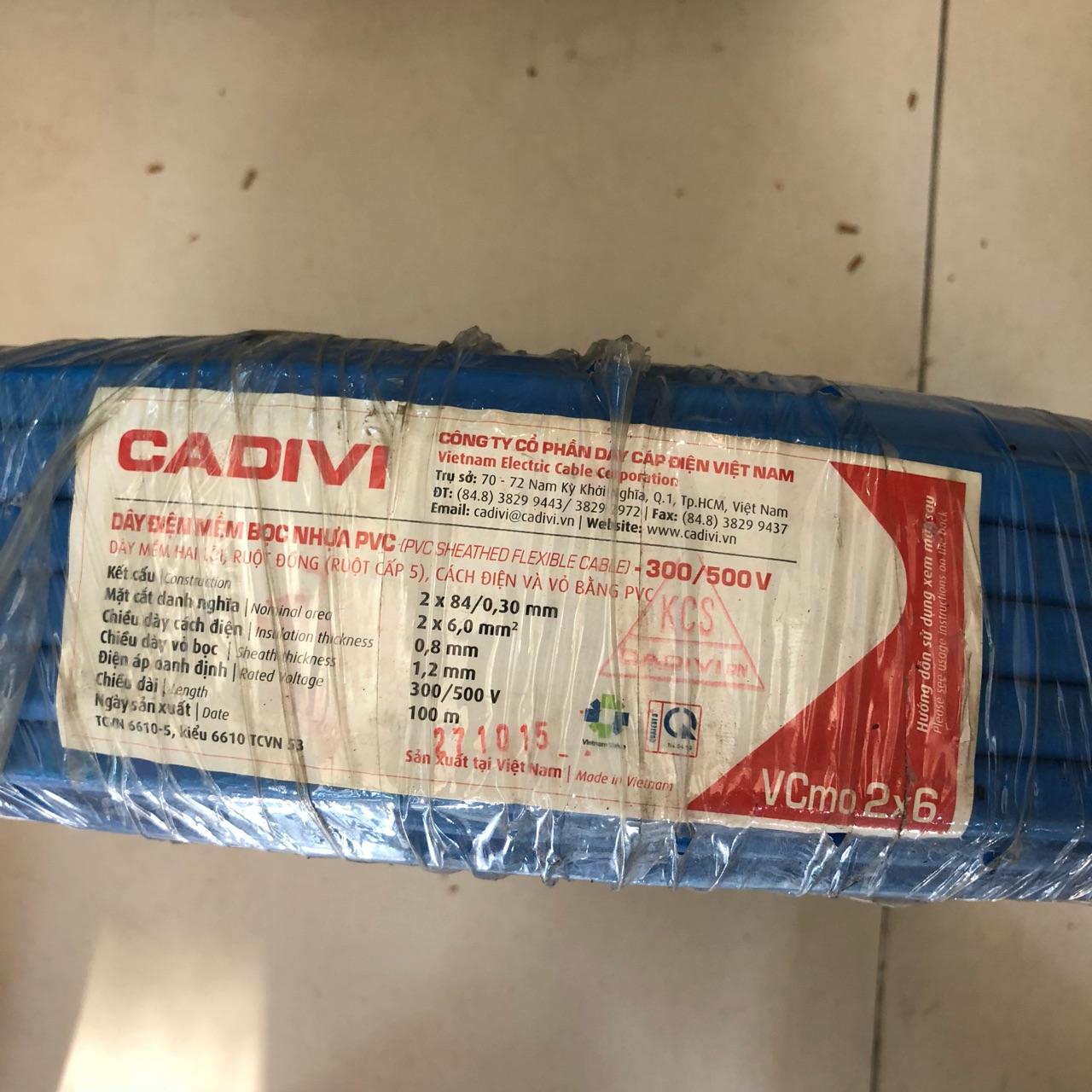Dây điện Cadivi Ovan 2x6