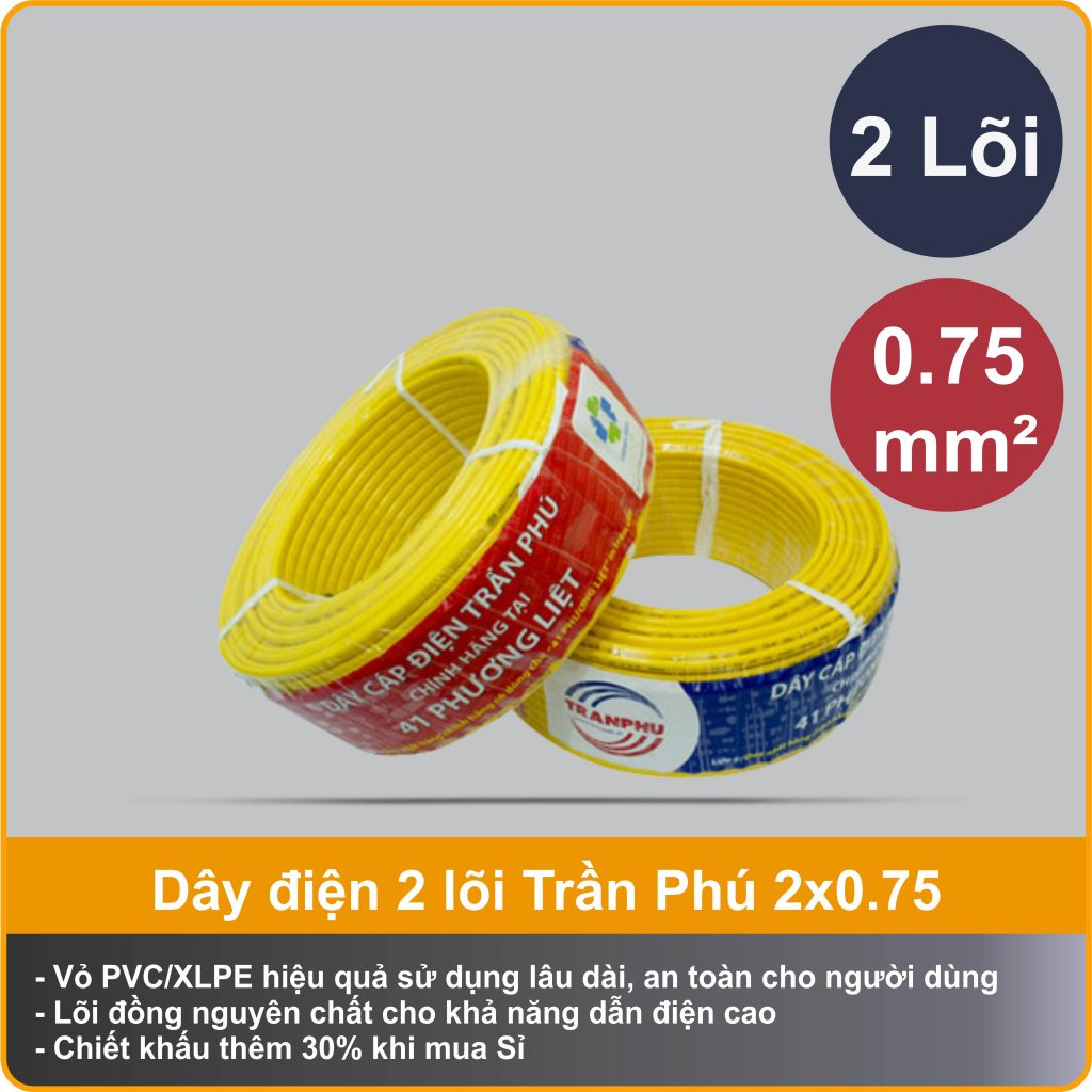 day-dien-tDây điện Trần Phú CVm 2x0.75 chính hãngran-phu-vcm-2x0.75-chinh-hang