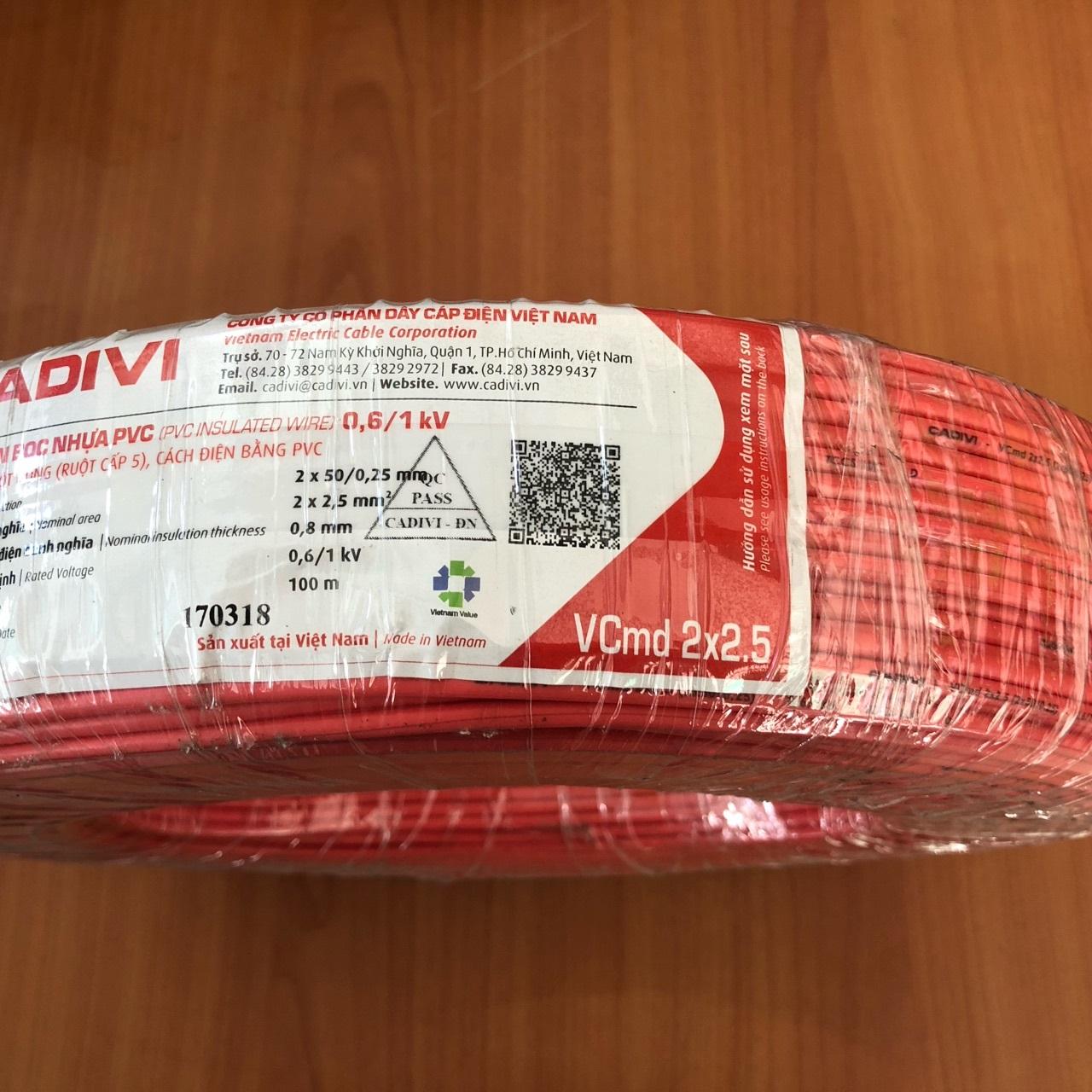 Dây đôi mềm dẹt Cadivi VCmo 2x2.5