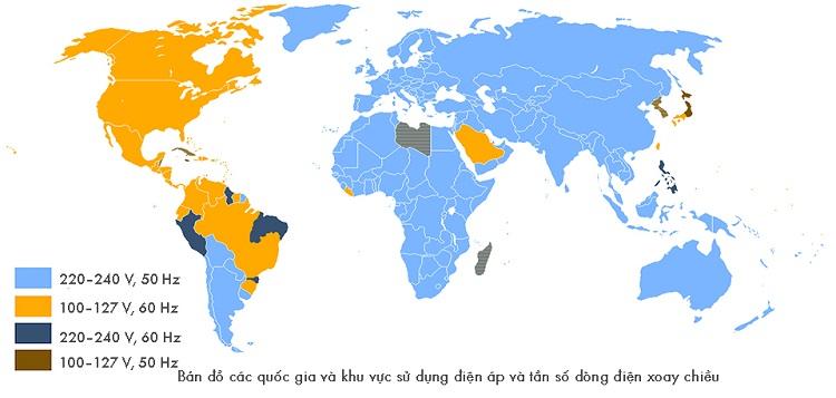 điện áp và tần số dòng điện các quốc gia