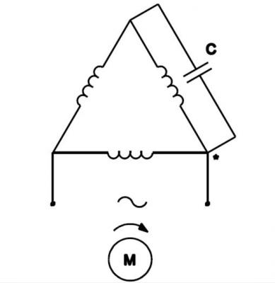 Kết nối tụ thường trực với động cơ đấu hình tam giác