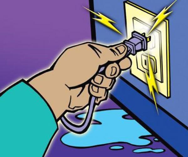 Không sử dụng thiết bị điện nơi ẩm ướt