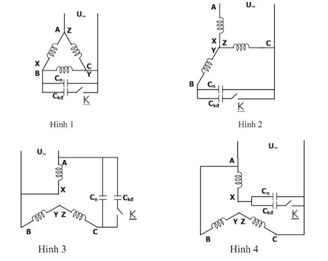Sơ đồ nguyên lý chuyển đổi đấu motor 3 pha thành 1 pha