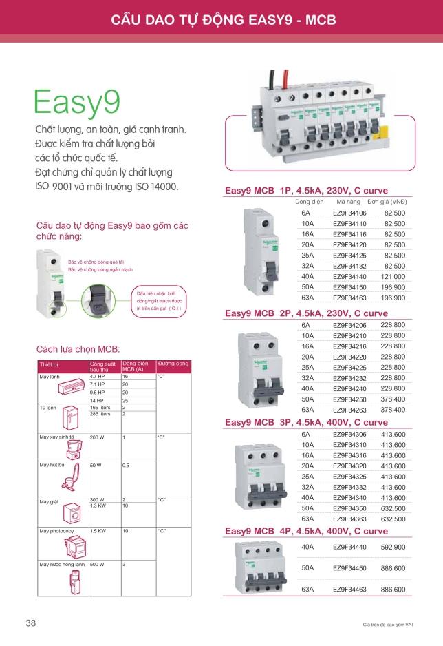 Thông số Aptomat Schneider easy9 MCB