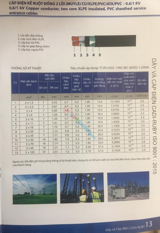 Thông số kỹ thuật cáp điện kế ruột đồng 2 lõi